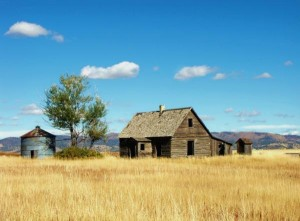 The little Harrow house on the prairie.   Image from here.